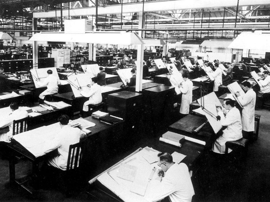 Part of the main design office at Automotive Products.  1947 |  IMAGE LOCATION: (Leamington Library)