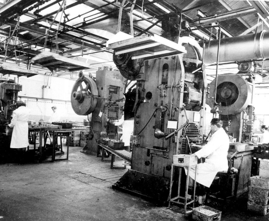 Part of the press shop at Automotive Products.  1947 |  IMAGE LOCATION: (Leamington Library)