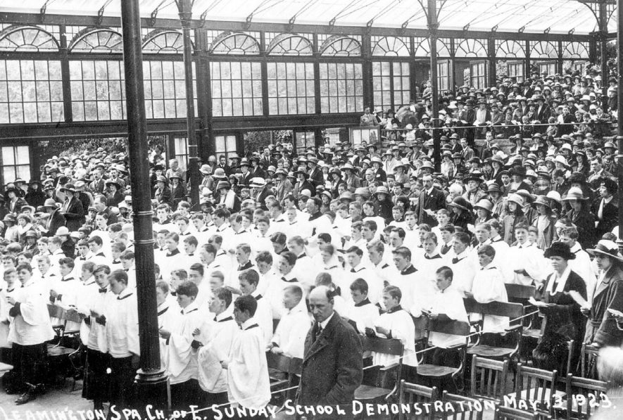 Church of England Sunday school demonstration in the Jephson Garden Pavilion, Leamington Spa.  1923 |  IMAGE LOCATION: (Leamington Library)