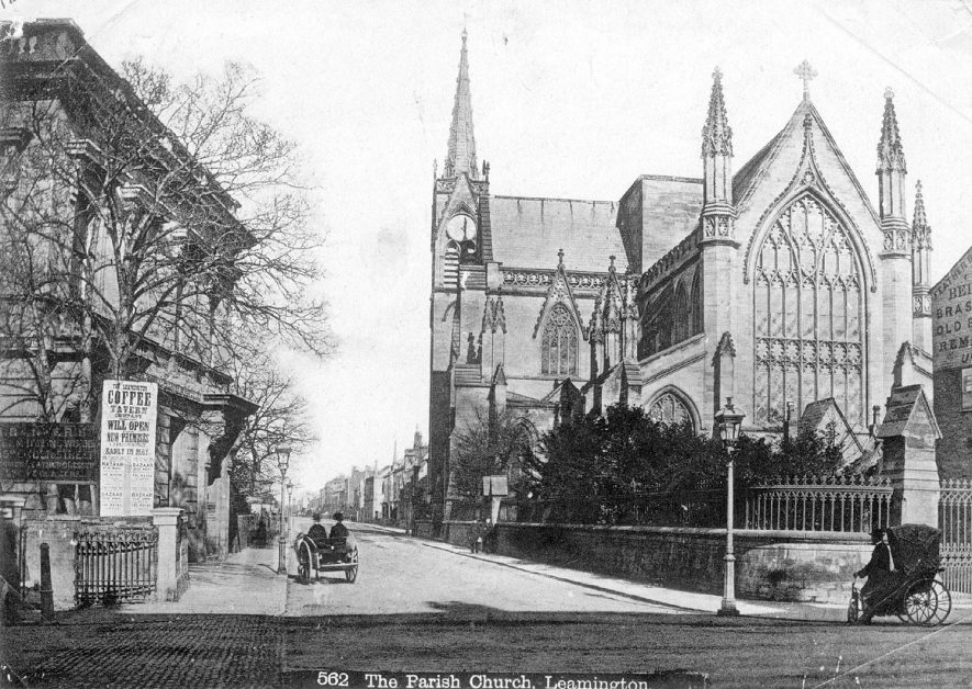 All Saints parish church and Priory Terrace, Leamington Spa. A bath chair & a small pony trap are also in the picture.  1870s |  IMAGE LOCATION: (Leamington Library)