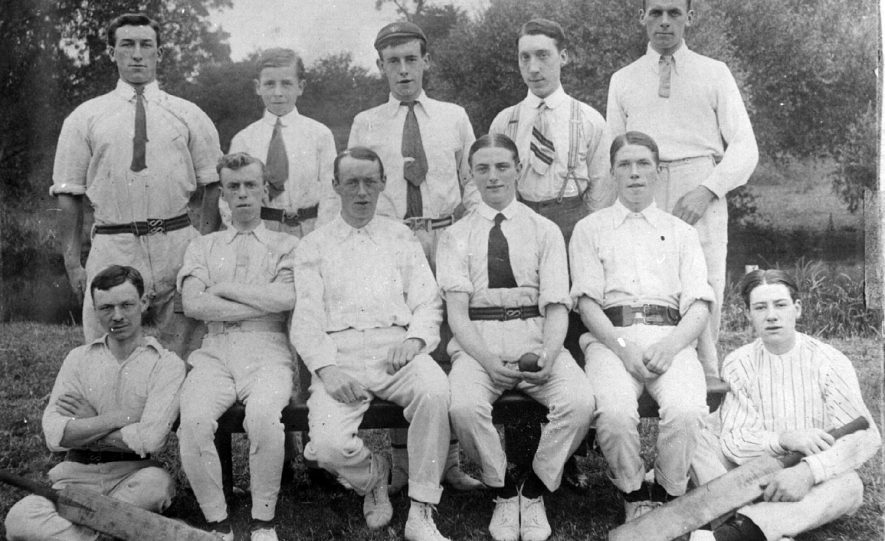 All Saints Parish church cricket team, Leamington Spa. Pictured are top left - Arthur Olorenshaw, middle back - Frank Atkins, second right back - Bernard Harrison, and bottom right - William Ward.  Circa 1910/12 |  IMAGE LOCATION: (Leamington Library) PEOPLE IN PHOTO: Ward, William, Olorenshaw, Arthur, Harrison, Bernard, Atkins, Frank
