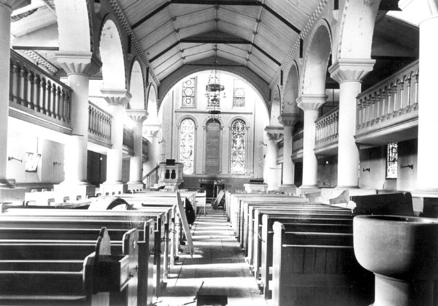 Interior view of Christ Church, looking north.  Christ Church was closed in 1958 prior to its demolition.  1958 |  IMAGE LOCATION: (Leamington Library)