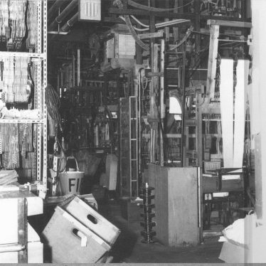 Bedworth.  Interior of ribbon weaving factory