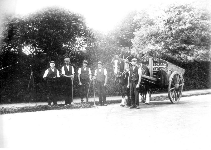 A road repair gang in Newbold Terrace, Leamington Spa.  1920s |  IMAGE LOCATION: (Leamington Library)