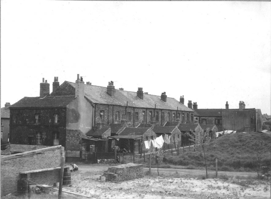 Mill Terrace, formerly Collycroft Mill, Bedworth. Backs of terraced houses.  25 May 1960 |  IMAGE LOCATION: (Warwickshire County Record Office)