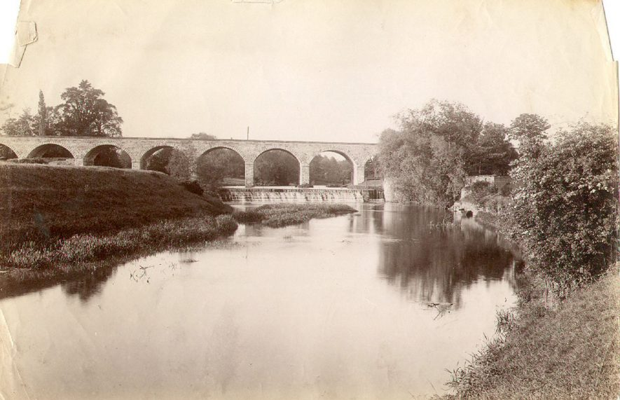 Railway viaduct over the river Leam, Leamington Spa. 1892