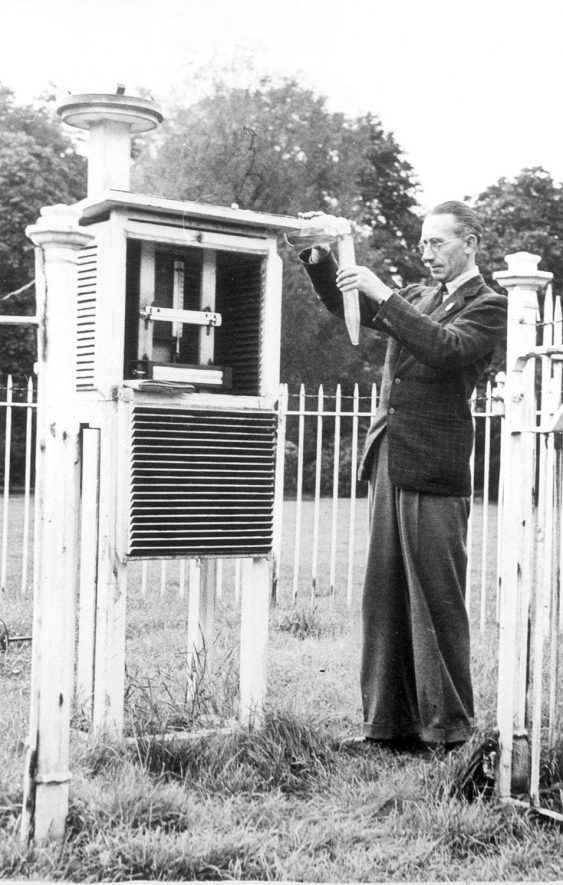 Mr. A.J. Smith, sanitary inspector, with weather station in the Pump Room Gardens, Leamington Spa.  1920s |  IMAGE LOCATION: (Leamington Library) PEOPLE IN PHOTO: Smith, Mr A J