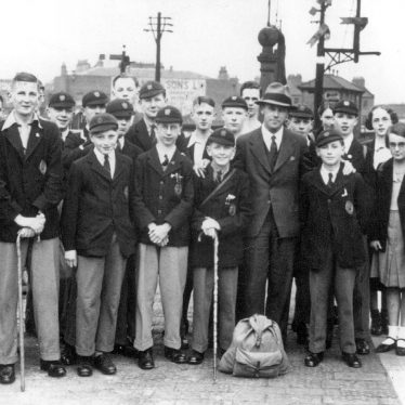 Leamington Spa.  College boys at G.W.R. Railway Station