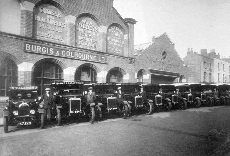 Burgess & Colbourne warehouse and delivery vehicles in Chandos Street, Leamington Spa.  1920s |  IMAGE LOCATION: (Leamington Library)