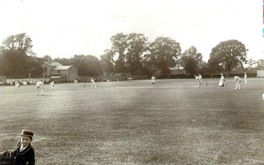 Cricket match at ground in Lillington Avenue, Leamington Spa.  1900s |  IMAGE LOCATION: (Leamington Library)