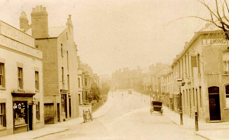 View of houses and shop looking up Church Hill, Leamington Spa.  1900s |  IMAGE LOCATION: (Leamington Library)