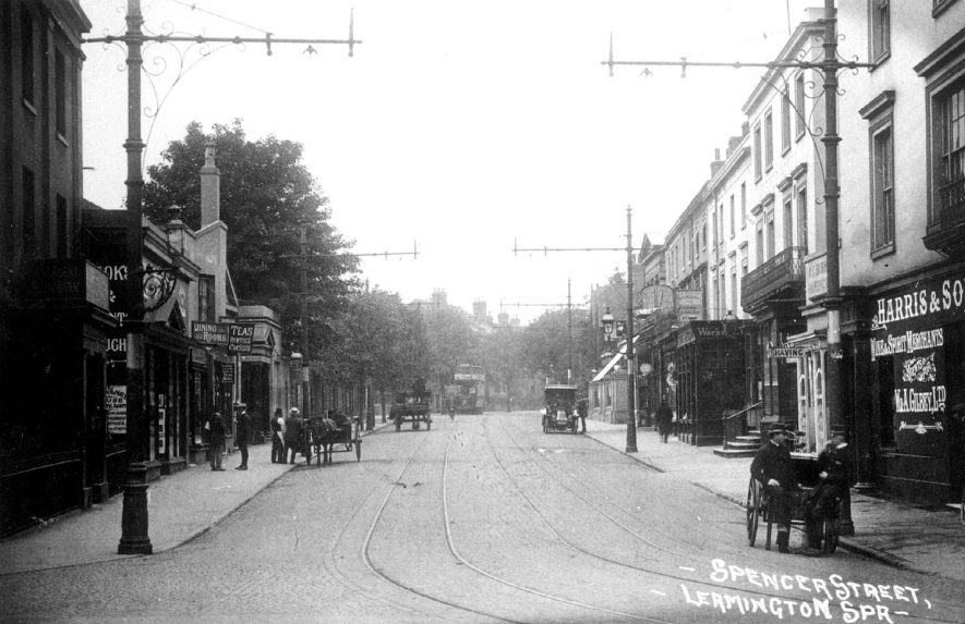View of Spencer Street, showing the tramway.  1910s |  IMAGE LOCATION: (Leamington Library)