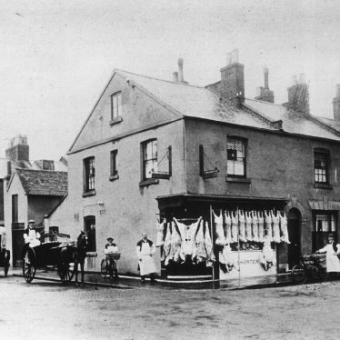 Leamington Spa.  Tavistock Street, butcher's shop