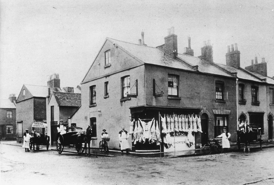 The butcher's shop belonging to Frank Shorter  in Tavistock Street.  c.1916 |  IMAGE LOCATION: (Leamington Library) IMAGE DATE: (c.1916)
