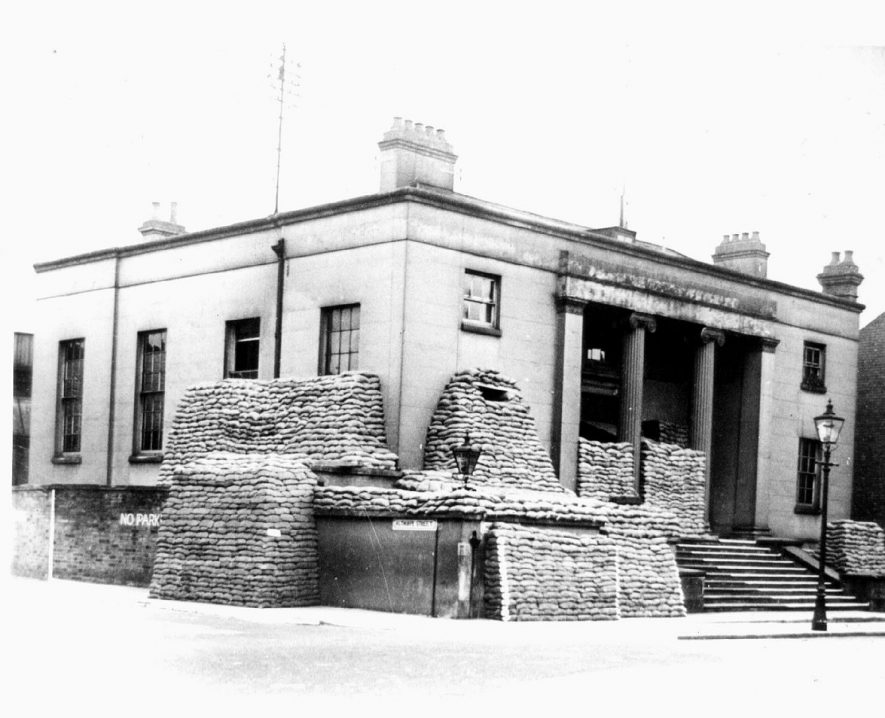 The Old Police Station (previously the Town Hall), Leamington Spa, sandbagged during World War II.  1941 |  IMAGE LOCATION: (Leamington Library)