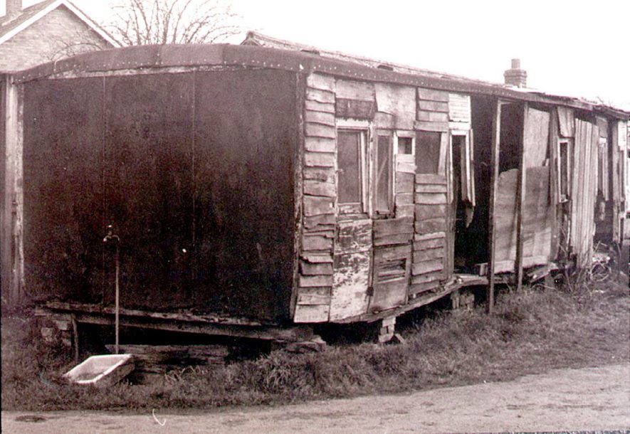 Old broad gauge Brunel's railway carriage on a farm at Myton, Leamington Spa.  1980 |  IMAGE LOCATION: (Leamington Library)