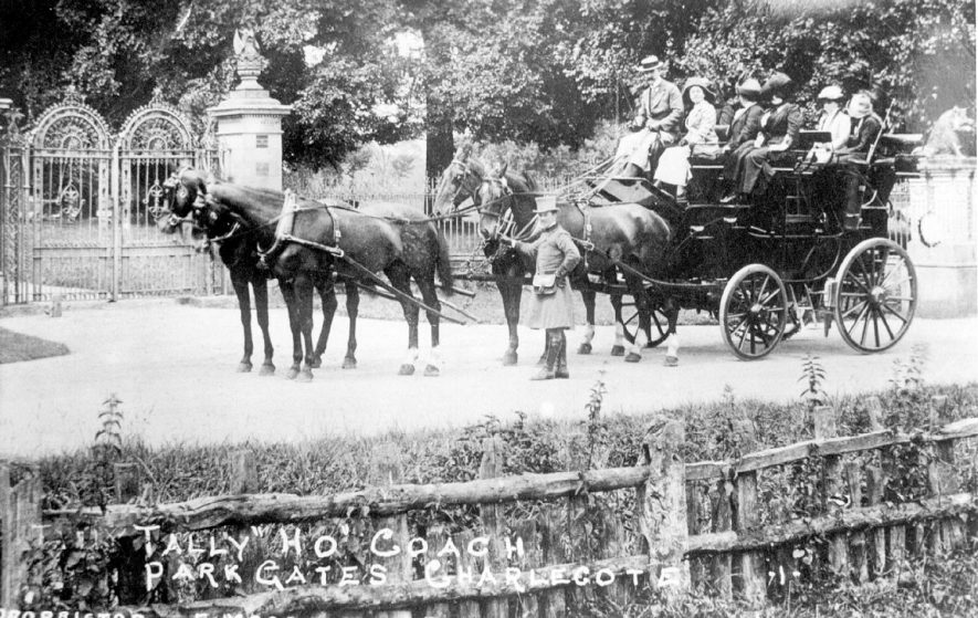 Tally Ho coach outside Charlecote Park gates, Charlecote.   Owned by Eddie McGreggor of Binswood Mews, Trinity Street, Leamington Spa.  It ran from Leamington to Stratford daily in the summer.  1906 |  IMAGE LOCATION: (Leamington Library)