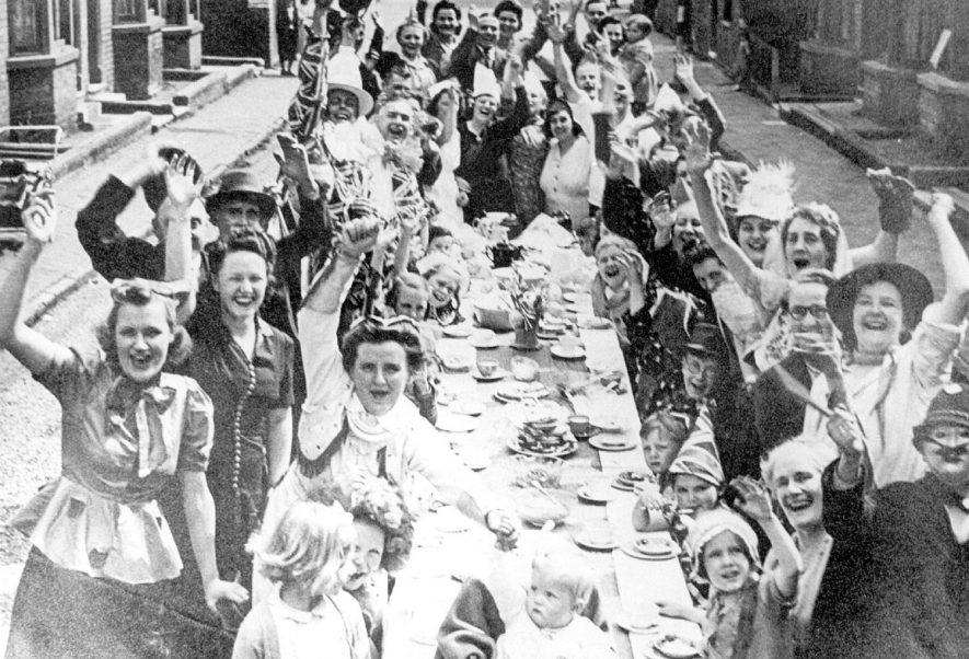 V.E. Day street party in Norfolk Street, Leamington Spa.  1945 |  IMAGE LOCATION: (Leamington Library)