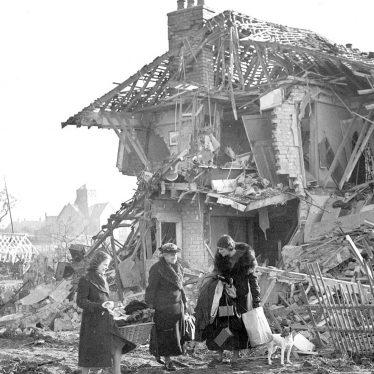 Leamington Spa.  Bomb damage
