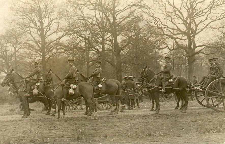 A team of artillery horses and their riders attached to a gun carriage, Leamington Spa.  1914 |  IMAGE LOCATION: (Leamington Library)