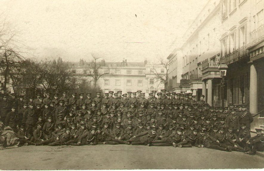 A large group of soldiers who were billeted in Clarendon Square, Leamington Spa.  1915 |  IMAGE LOCATION: (Leamington Library)
