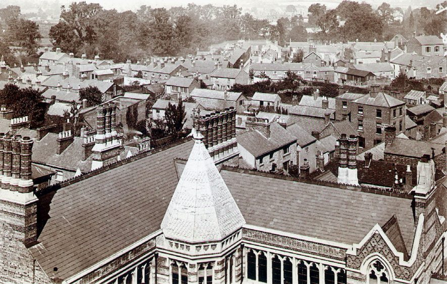 View over the roofs of the town from the school, Rugby.  1880 |  IMAGE LOCATION: (Rugby Library)