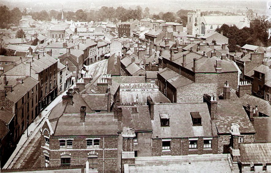 View across the top of central Rugby.  1880s |  IMAGE LOCATION: (Rugby Library)