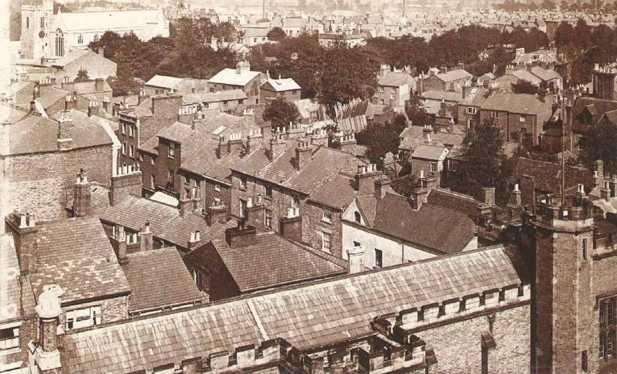 View from School towards St Andrew's church, Rugby.  1877    IMAGE LOCATION: (Rugby Library)