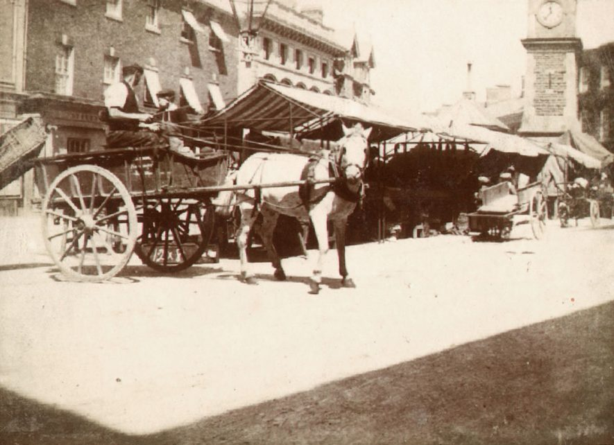 Rugby Market Place.  1900 |  IMAGE LOCATION: (Rugby Library)