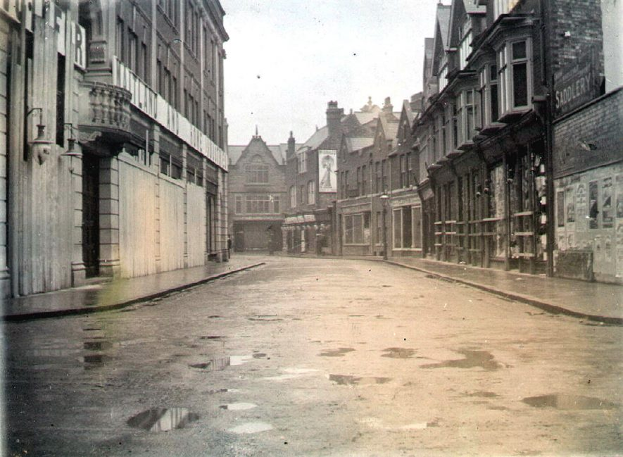 Boarded up shops after vandalism at the general election of 1906, Bank Street, Rugby.  1906    IMAGE LOCATION: (Rugby Library)