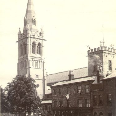 Rugby.  St Andrew's Church from Church Street