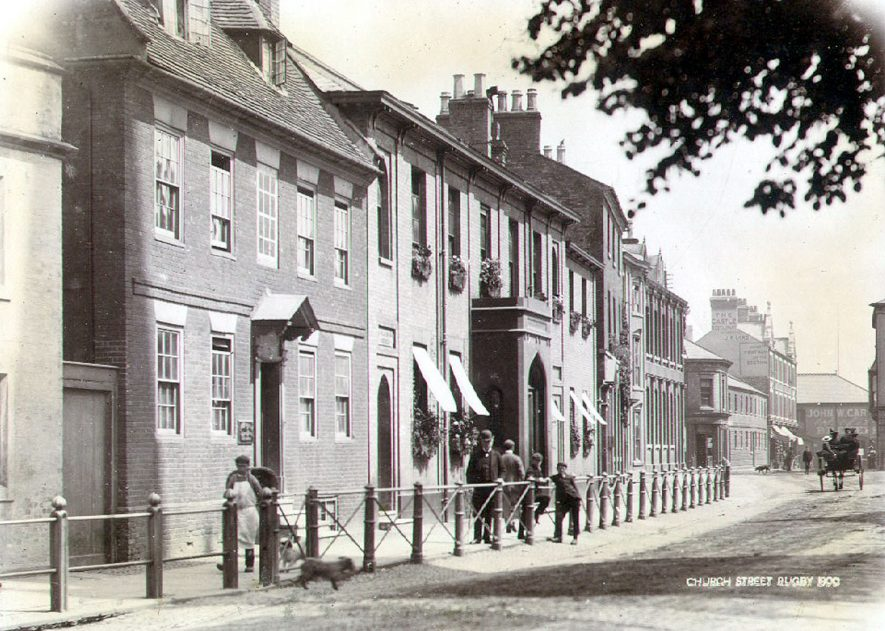 Large town houses in Church Street, Rugby.  House with stone porch known as