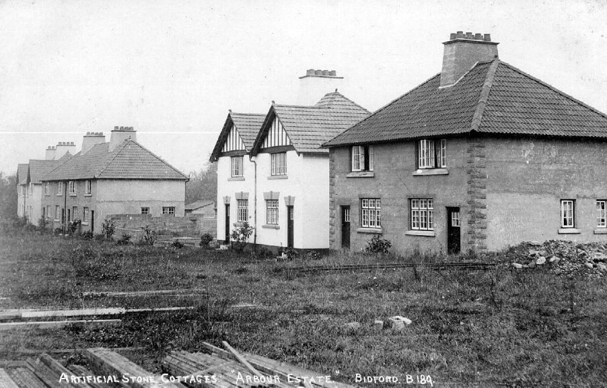 Artificial stone cottages on the Arbour Estate, Bidford on Avon.  1910s |  IMAGE LOCATION: (Warwickshire County Record Office)