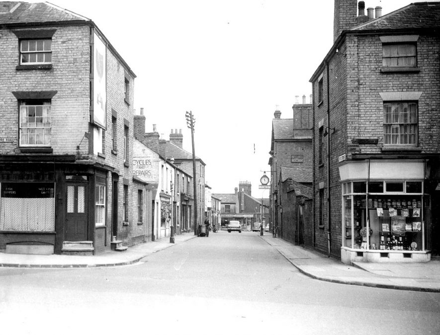 The south end of Corporation Street, Rugby.  1957