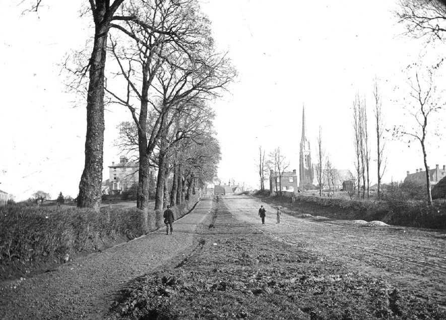Dunchurch Road showing St Marie's Roman Catholic church, Rugby.  1880s |  IMAGE LOCATION: (Rugby Library)