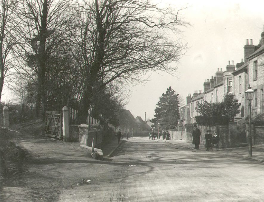View along Lawford Road, Rugby. 1900[St Oswalds Gardens are seen on the left of this photograph and Torrance Lane is on the right by the gas lamp] |  IMAGE LOCATION: (Rugby Library)