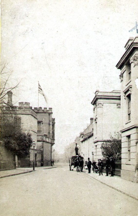 Lawrence Sheriff Street showing buildings, part of Rugby School, Rugby.  1880 |  IMAGE LOCATION: (Rugby Library)