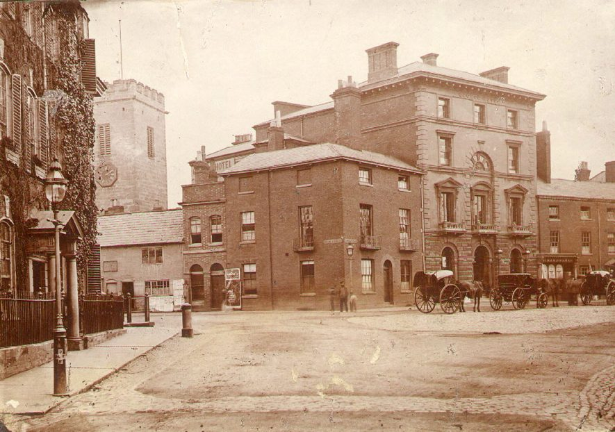 Street scene at  Rugby market in 1876 |  IMAGE LOCATION: (Rugby Library)