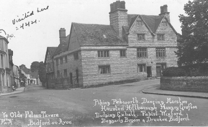'Ye Olde Falcon Tavern', Bidford on Avon. Large stone building with mullioned windows. 1920s.The rhyme on the card perpetuates the fact that Bidford has always had a certain reputation: