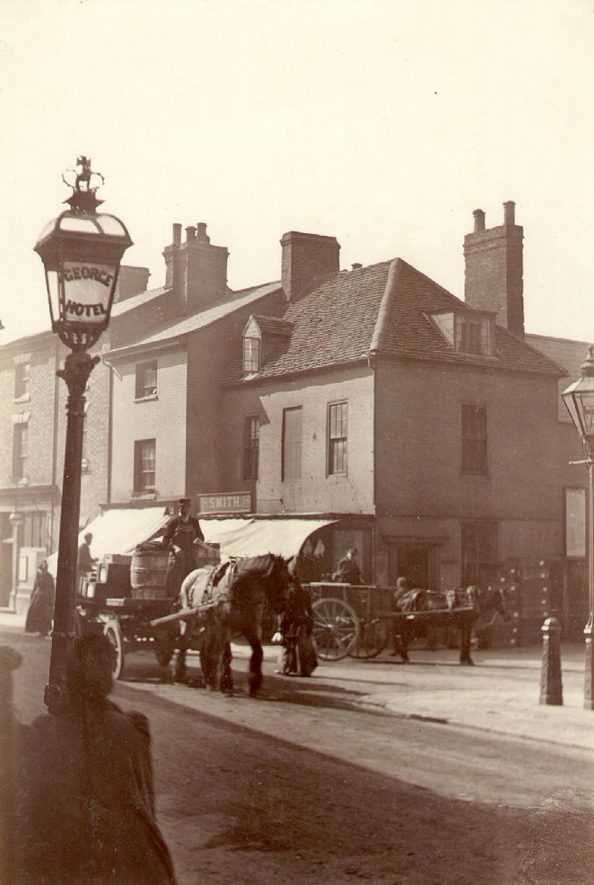 Street scene in the Market Place, Rugby.  1893 |  IMAGE LOCATION: (Rugby Library)