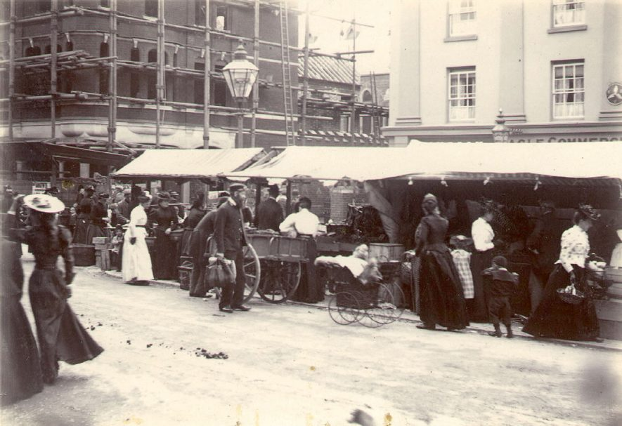 Stalls at Rugby market.  1893 |  IMAGE LOCATION: (Rugby Library)