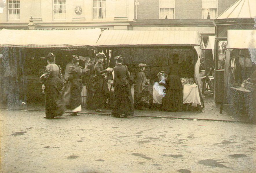 Market stalls at Rugby.  1893 |  IMAGE LOCATION: (Rugby Library)