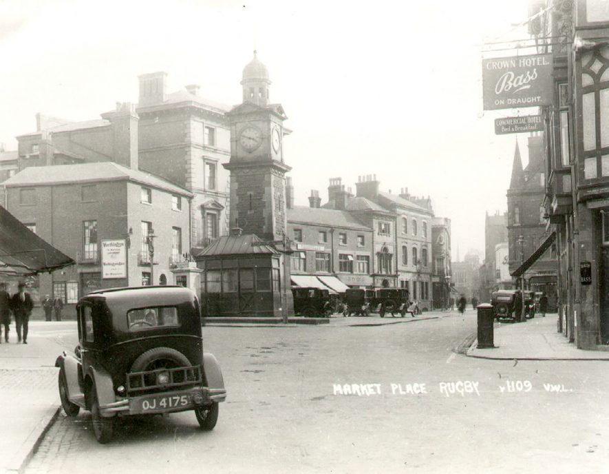 Market Place, showing the clock tower, Rugby.  1930 |  IMAGE LOCATION: (Rugby Library)