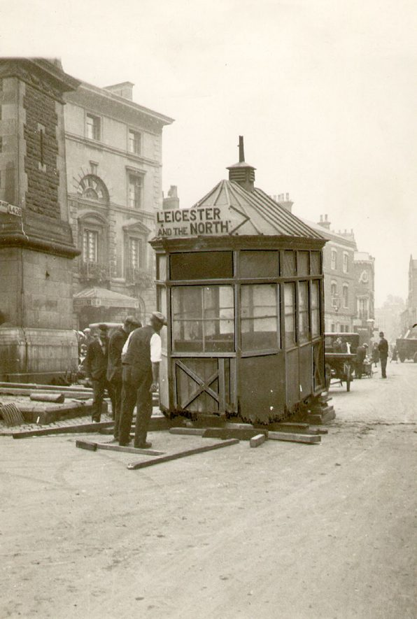 Removal of the Cabbies' shelter in Market Place, Rugby.  1933 |  IMAGE LOCATION: (Rugby Library)