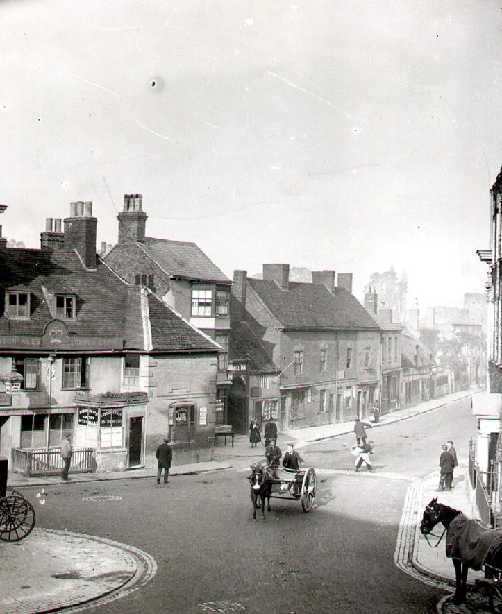 North Street, showing the Crown Inn, Rugby.  1895 |  IMAGE LOCATION: (Rugby Library)