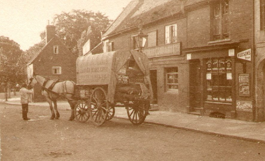 A horse drawn delivery van outside a shop in North Street, Rugby.  1905 |  IMAGE LOCATION: (Rugby Library)