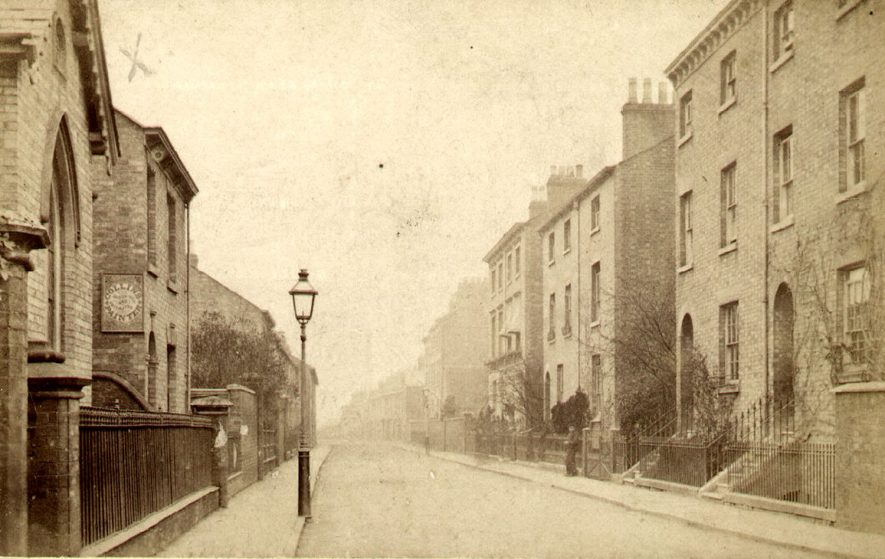 Pennington Street, showing St Matthew's Church of England Infants School on the left, Rugby.  c. 1880 |  IMAGE LOCATION: (Rugby Library)