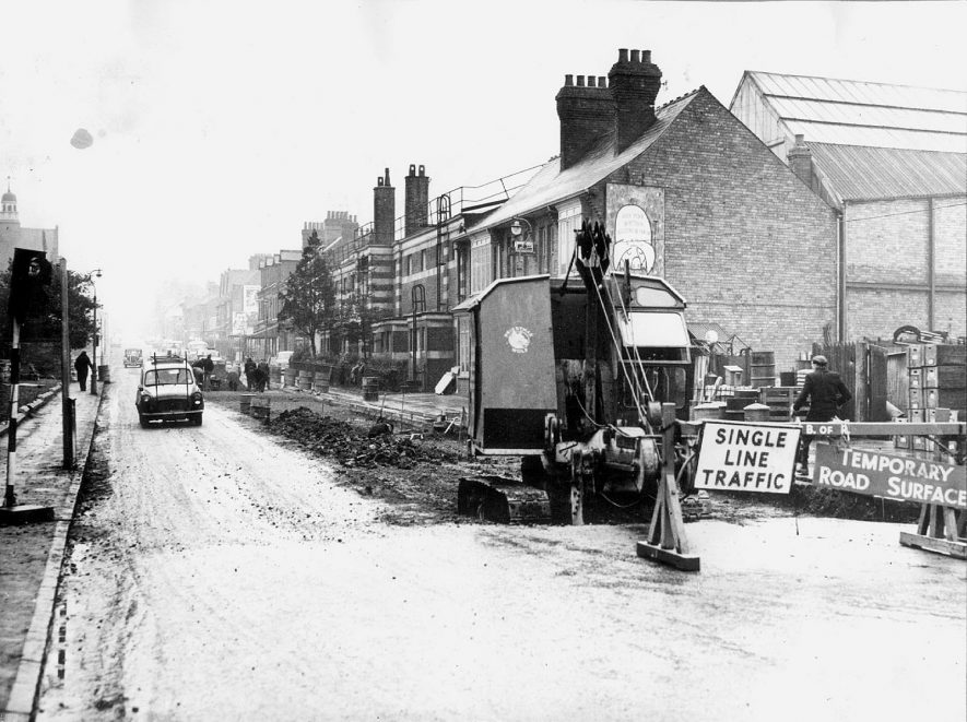 Excavations in Railway Terrace, to reduce the camber of the road.  These lasted from October to April.  1960 |  IMAGE LOCATION: (Rugby Library)