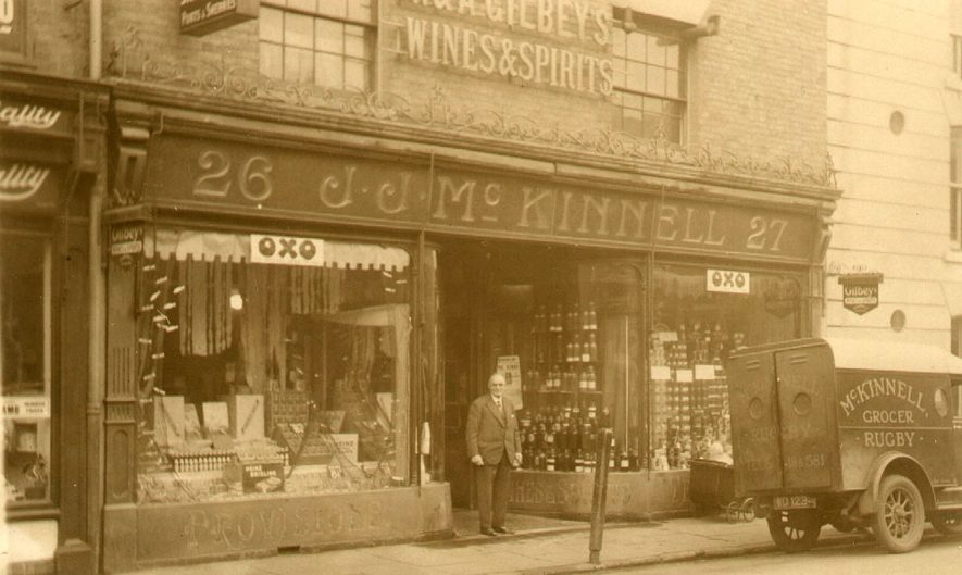 McKinnell's grocery shop, with  Mr A J Bond at the door, Sheep Street, Rugby.  1927
