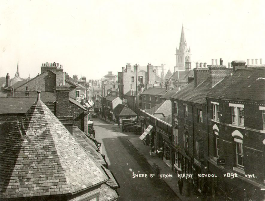 View of Sheep Street, Rugby, taken from the roof of Rugby school.  1930 |  IMAGE LOCATION: (Rugby Library)
